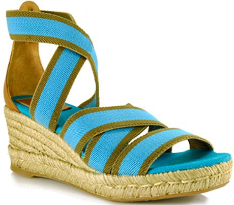 Tory Burch Bridee  Turquoise Canvas Espadrille Wedge Sandal in Blue (turquoise) - Lyst
