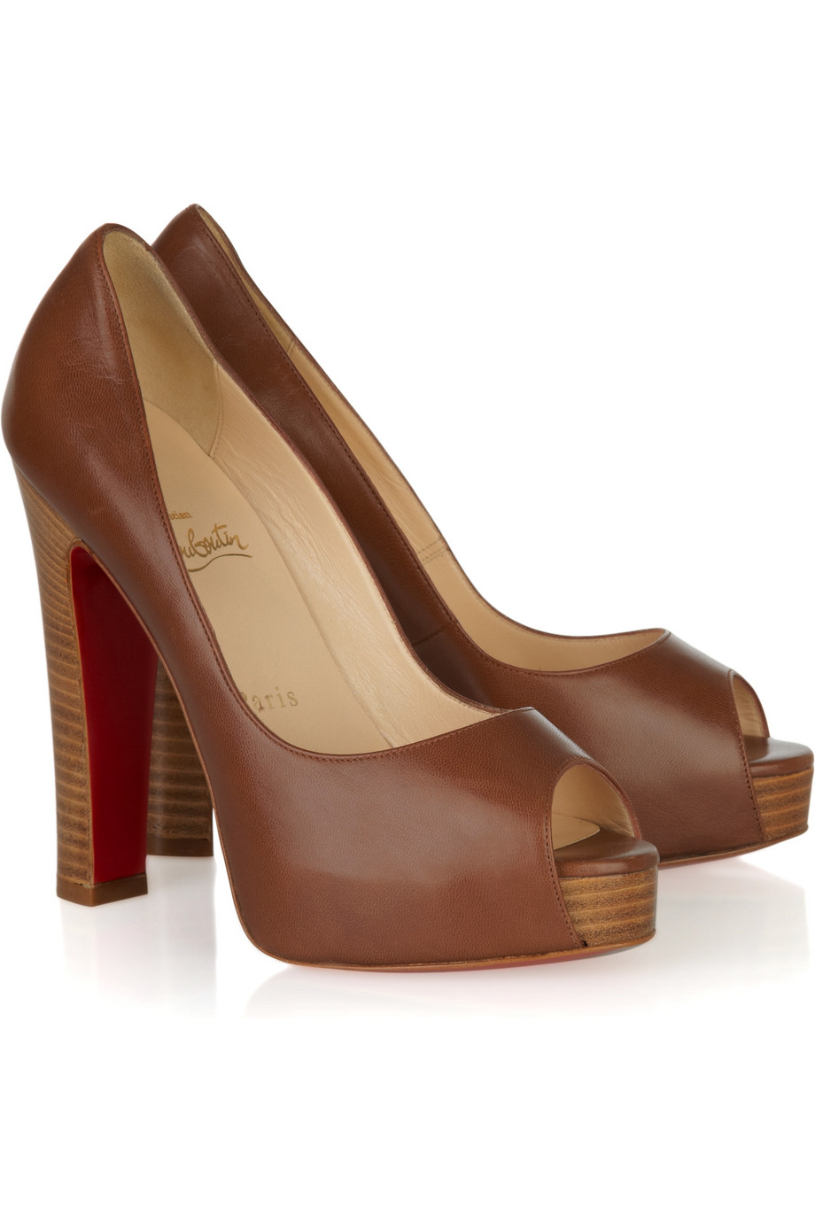 Christian Louboutin Gabin 140 Leather Open Toe Pumps In