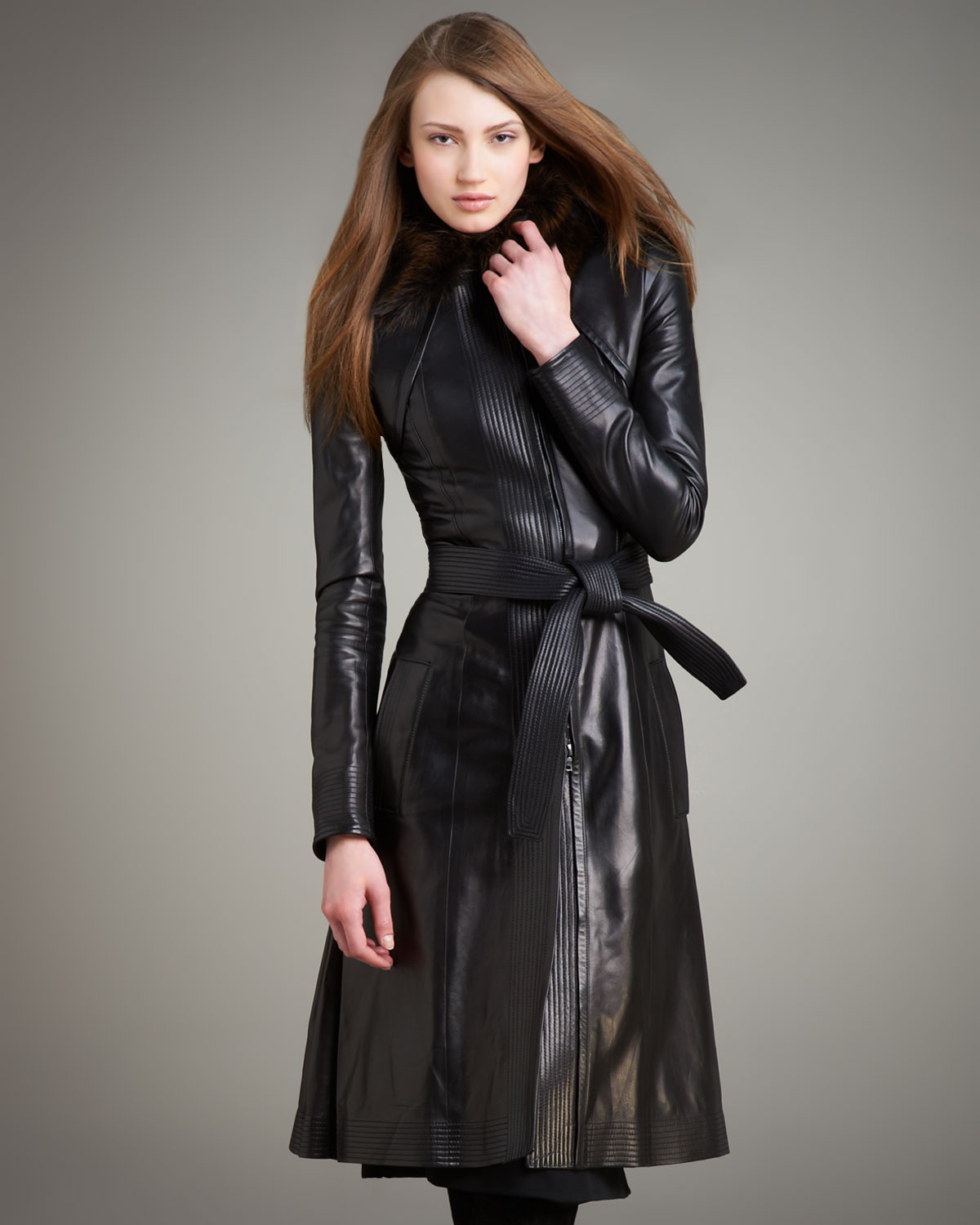 Narciso rodriguez Fur-collar Long Leather Coat in Black | Lyst