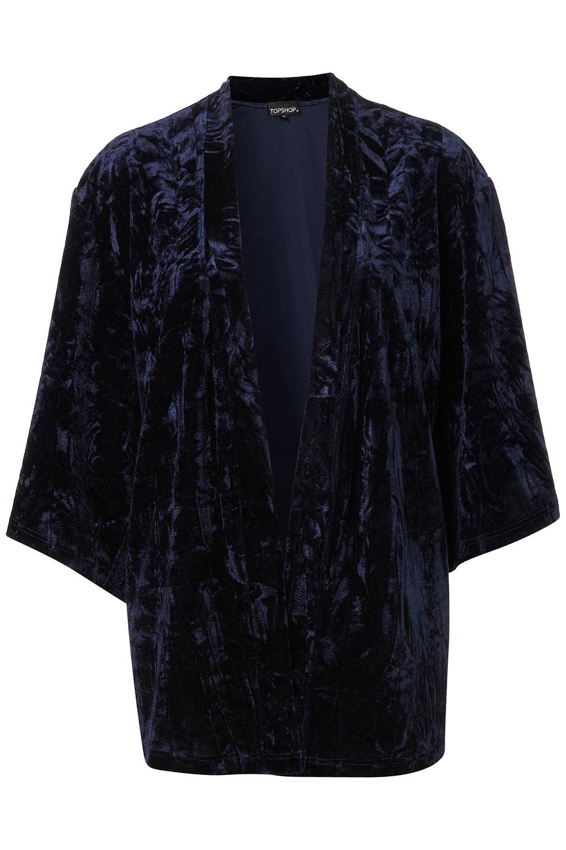 Topshop Navy Velvet Kimono Jacket in Blue | Lyst
