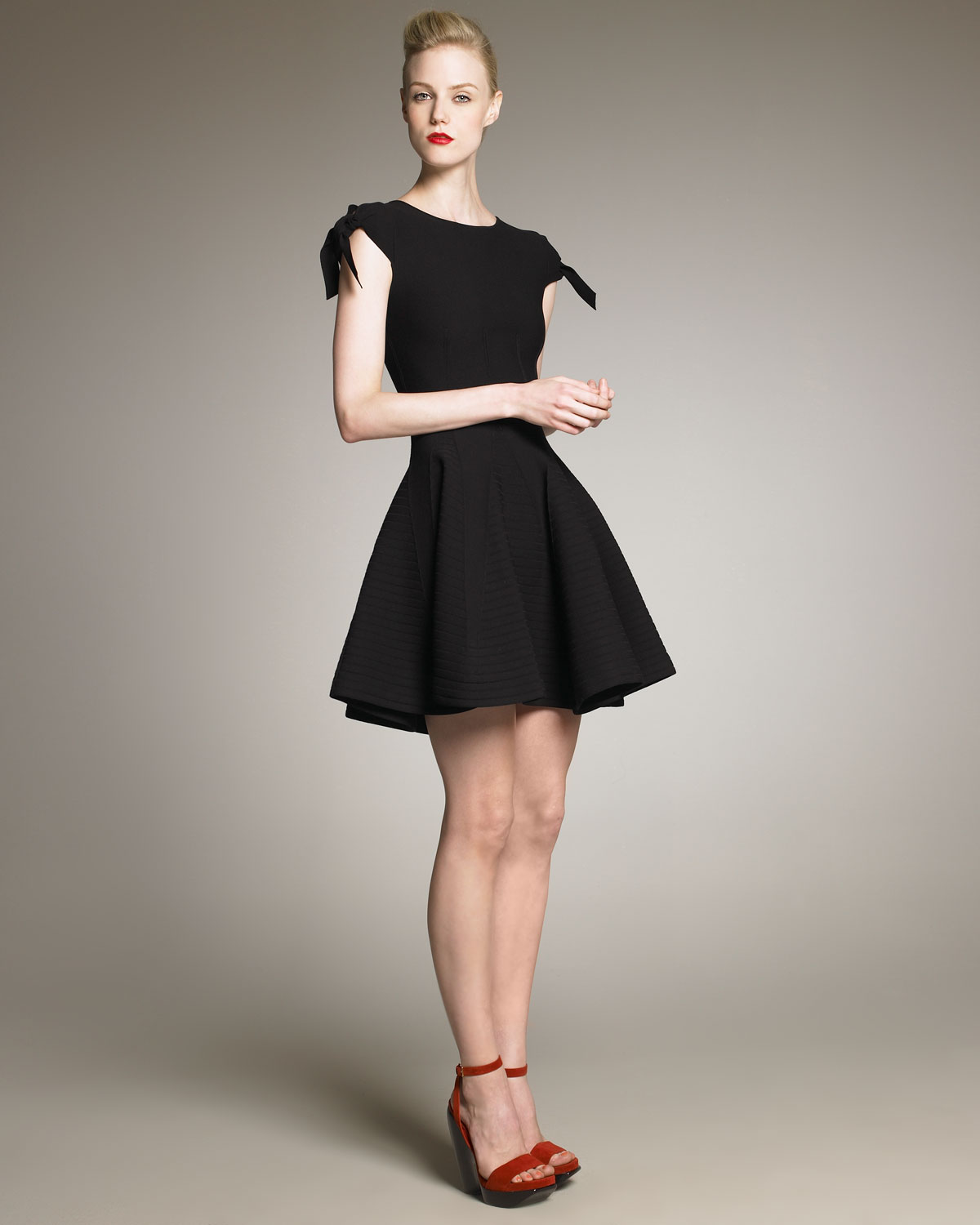 Saint Laurent Textured Fit And Flare Dress In Black Lyst