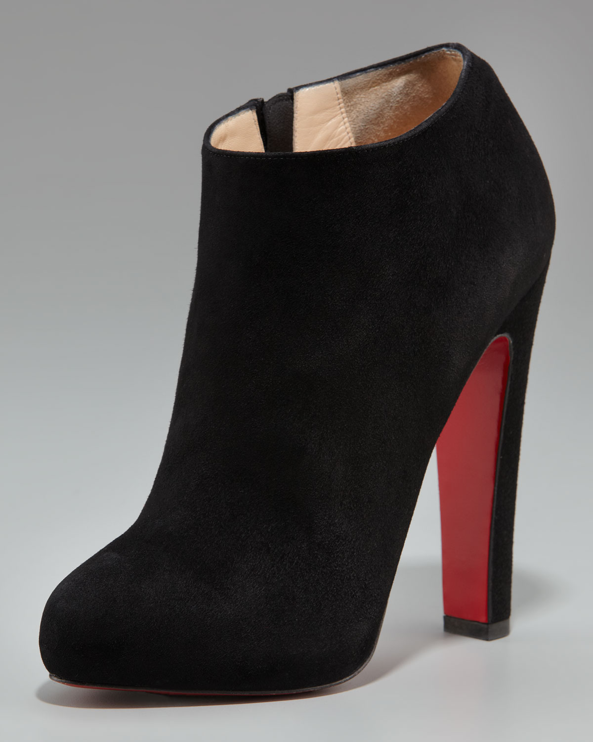 6c25b329469 Lyst - Christian Louboutin Suede Thick-heel Bootie in Brown
