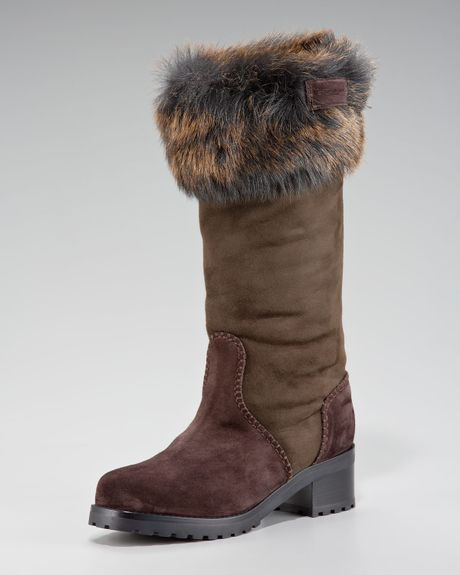 donna karan new york fur capped work boot in brown