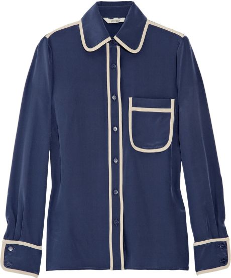 Tucker Pajama-style Silk Shirt in Blue (navy)