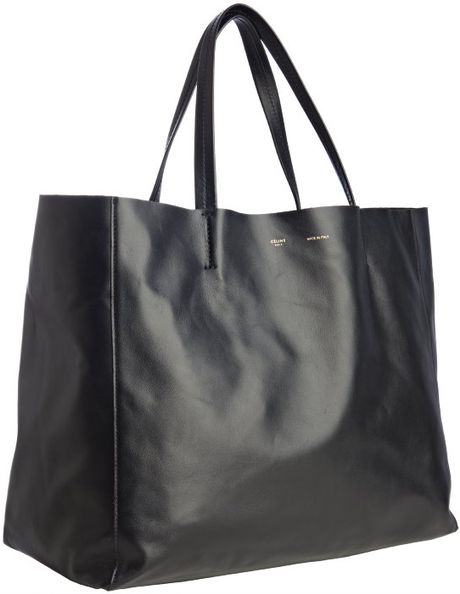 Womens lined leather gloves - Celine Black Leather Large Tote Bag In Black Lyst