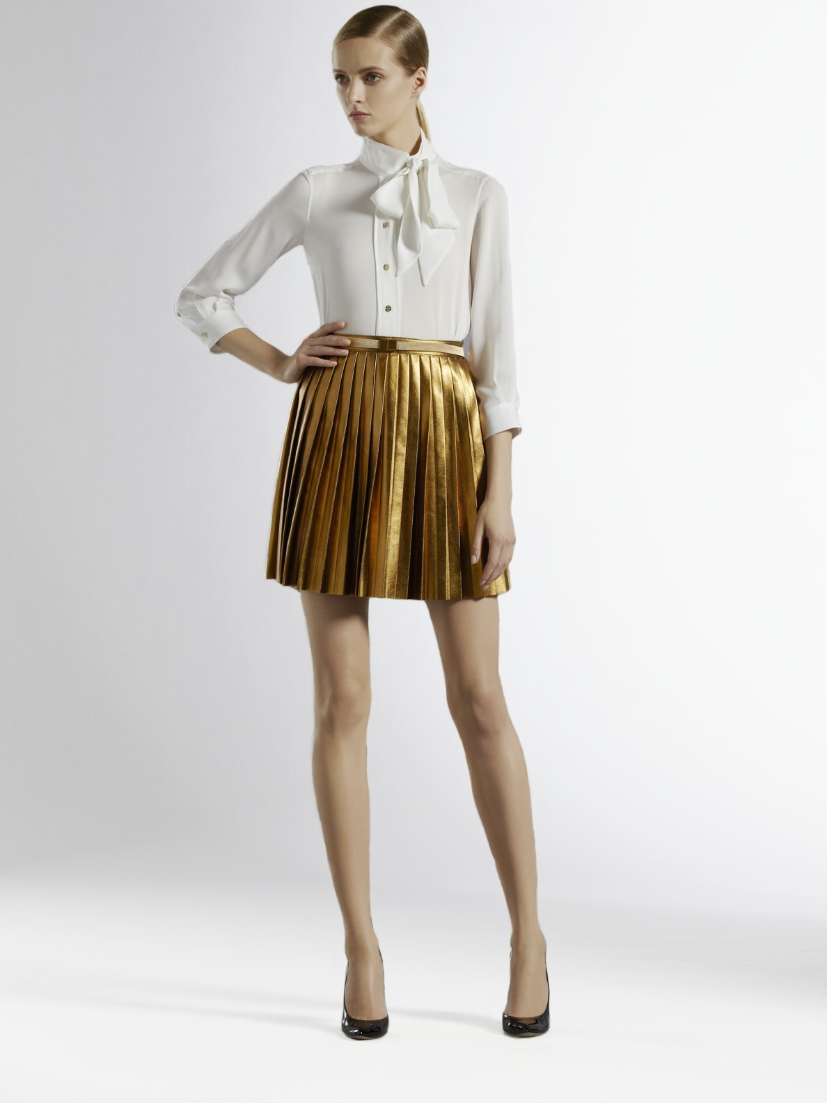 gucci pleated leather skirt in metallic lyst