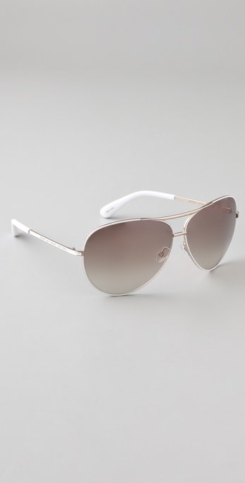 Marc Jacobs Oversized Aviator Sunglasses  marc by marc jacobs oversized aviator sunglasses in white lyst