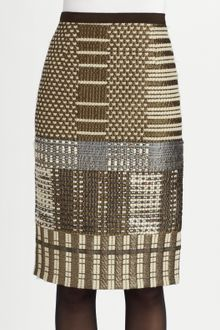 Oscar de la Renta Metallic Embroidered Pencil Skirt - Lyst