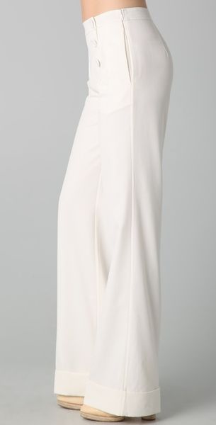 Raoul Fit N Flare Sailor Pants In White Vanilla Lyst