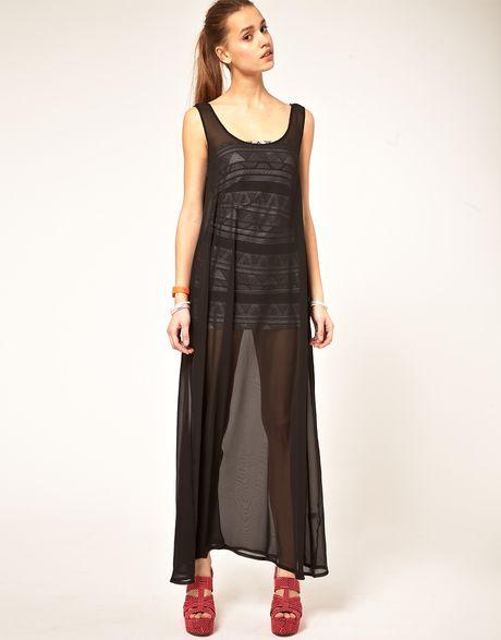 American Apparel Sheer Maxi Dress In Black Lyst
