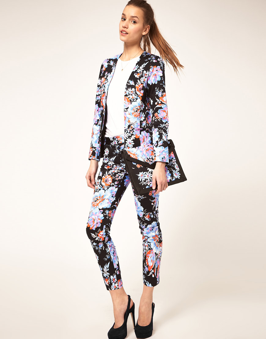 Lyst - Asos Collection Asos Cropped Trousers in Floral Print