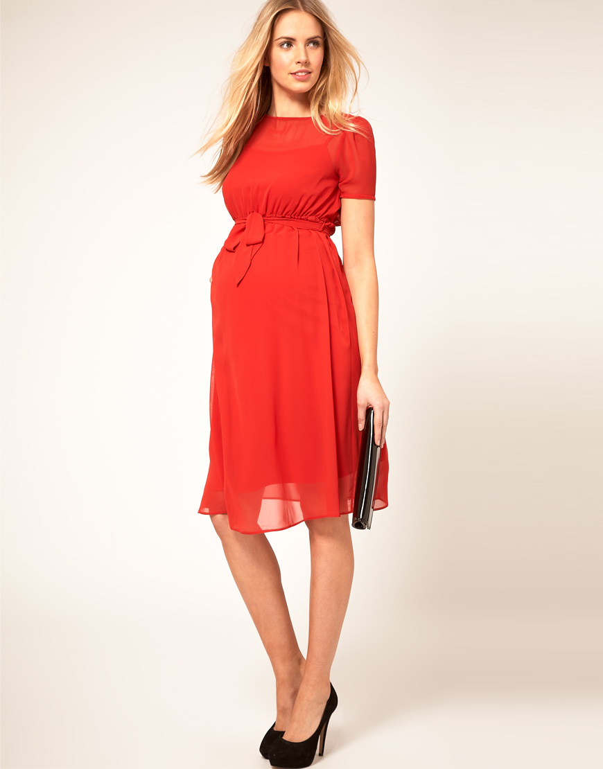 Asos maternity midi dress with belt in red lyst gallery ombrellifo Choice Image
