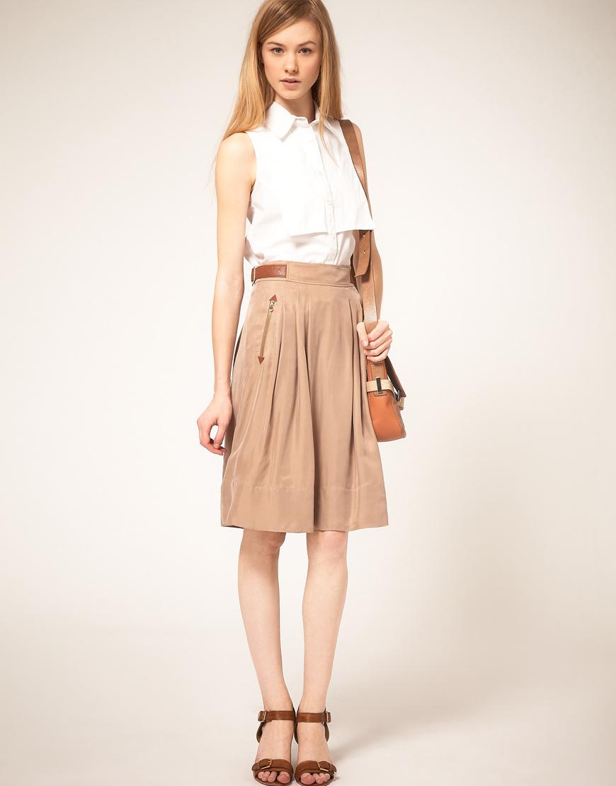 ted baker leather trim skirt in beige lightbrown lyst