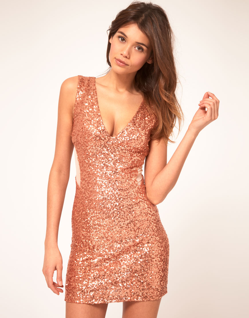 Tfnc london Tfnc Sequin Dress with Mesh Inserts in Pink | Lyst
