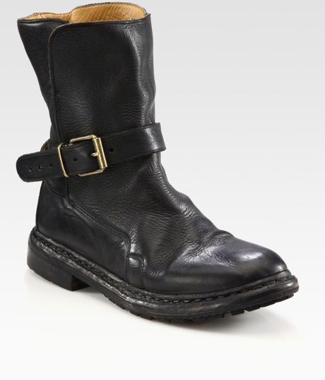 burberry leather buckle ankle boots in black lyst