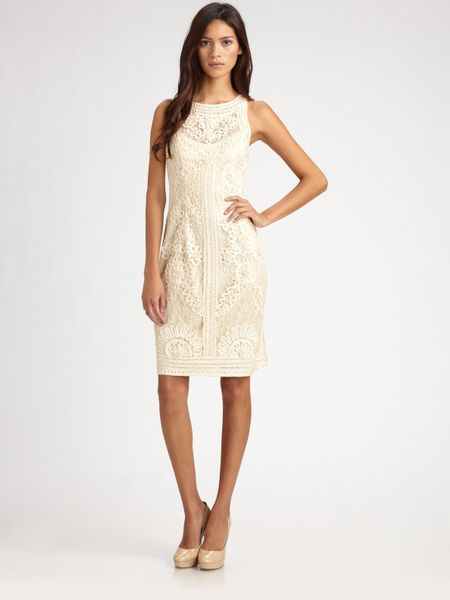 Sue Wong Soutache Lace Dress in Beige - Lyst