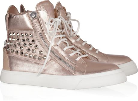 Giuseppe Zanotti Studded Metallic Leather Sneakers in Brown (blush)