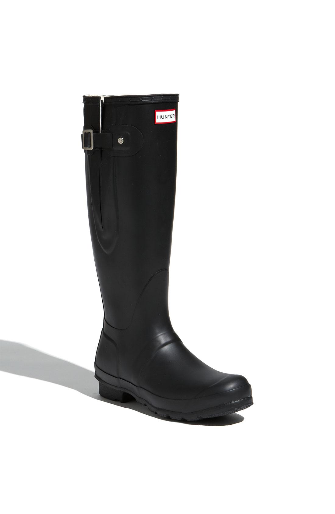 Hunter Original Tall Adjustable Rain Boot In Black For Men