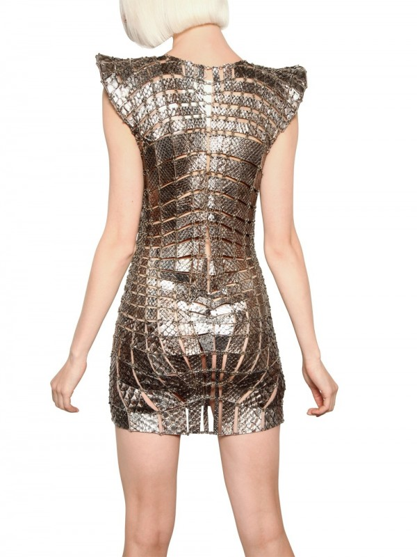 Lyst - Paco Rabanne Metal Chain and Python Insert Dress in ...