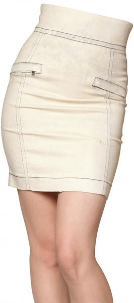 Pierre Balmain Acid Washed Waxed Denim Stretch Skirt in Beige - Lyst