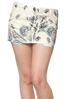 Pierre Balmain Printed Denim Stretch Mini Skirt - Lyst