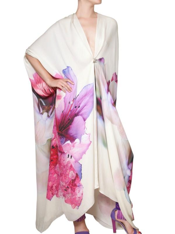 Roberto Cavalli Flower Print Silk Chiffon Kaftan Dress Lyst