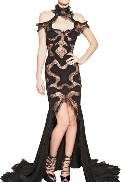 Alexander Mcqueen Lace Viscose On Georgette Dress in Black