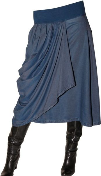 avantgard denim gathered denim chambray stretch skirt in