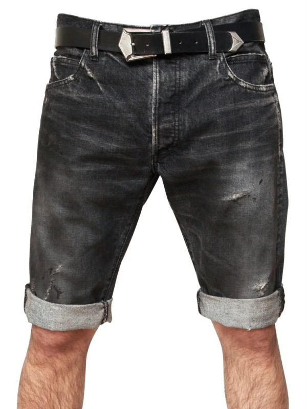 Balmain Distressed Denim Shorts in Black for Men | Lyst