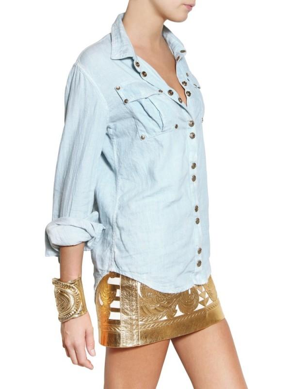 Balmain Cotton Denim Shirt In Blue Lyst
