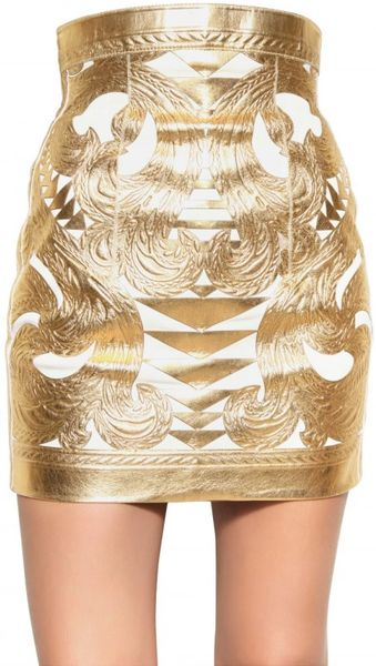 Balmain Gold Laminated Nappa Skirt in Gold