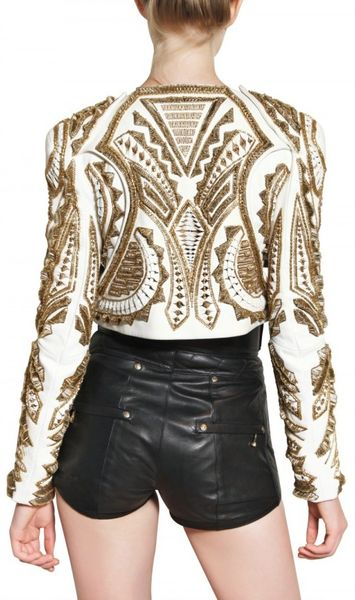 Embroidered Leather Jacket Leather Jacket in Gold