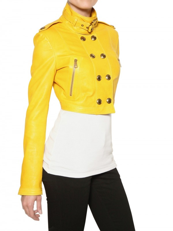Burberry Holmbridge Nappa Short Leather Jacket in Yellow | Lyst