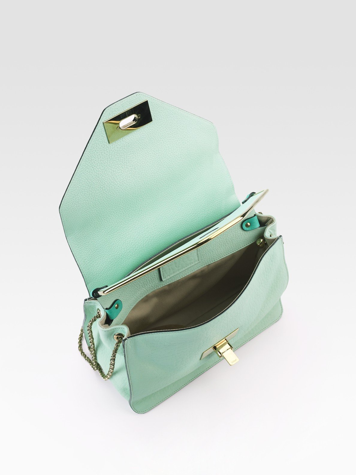 Chlo¨¦ Sally Grained-Leather Shoulder Bag in Green (emerald) | Lyst