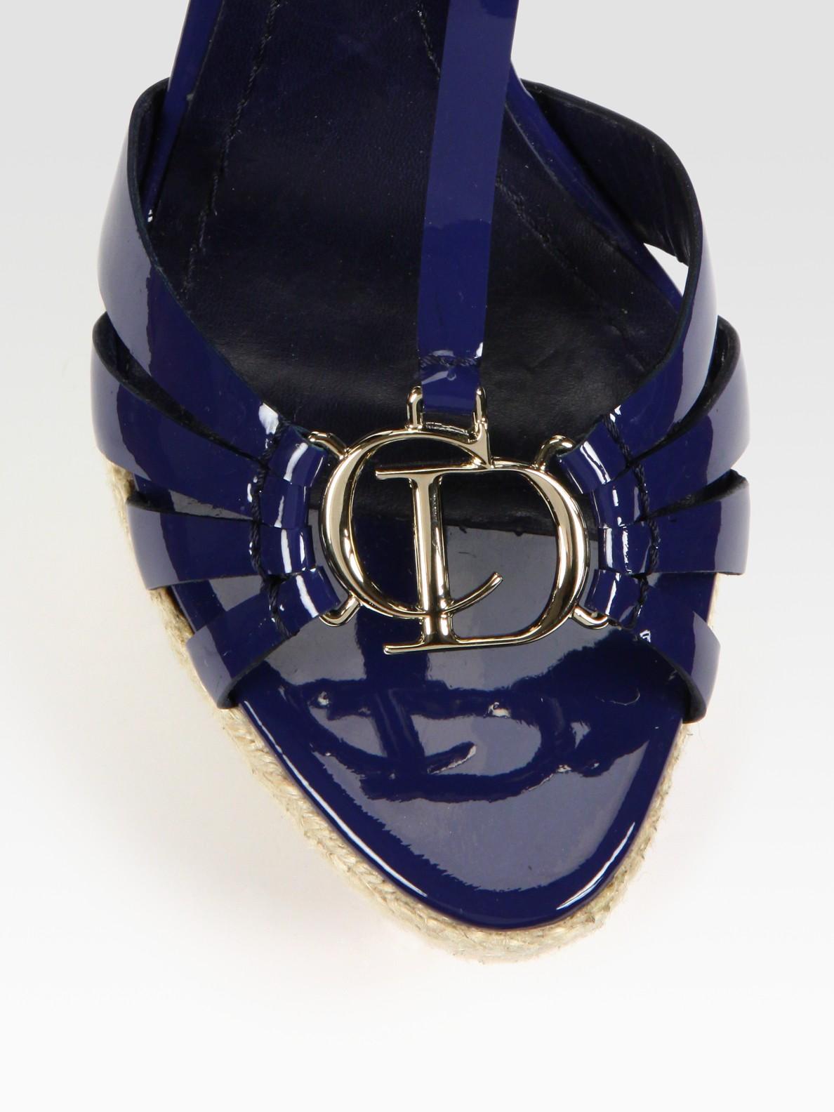 Lyst Dior Cd2 Patent Leather T Strap Platform Sandals In