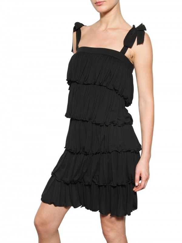 Lyst Dolce Amp Gabbana Tiered Modal Jersey Dress In Black