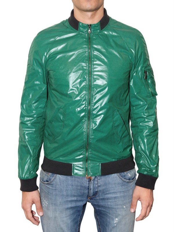 Lyst Dolce Amp Gabbana Shiny Nylon Sport Jacket In Green