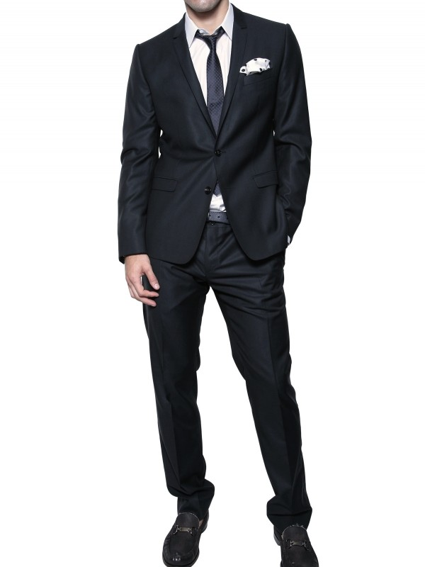 Dolce & gabbana Jaspé Wool & Silk Blend Suit in Blue for Men | Lyst