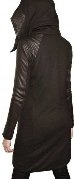 Saint Laurent Leather Trim Wool Teddy Bomber Jacket (Black
