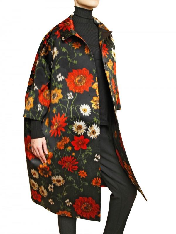 Lyst Jil Sander Silk Chin 232 Flower Printed Duchesse Coat