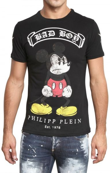 Philipp Plein Mickey Mouse Swarovski Jersey T-shirt in Black for Men