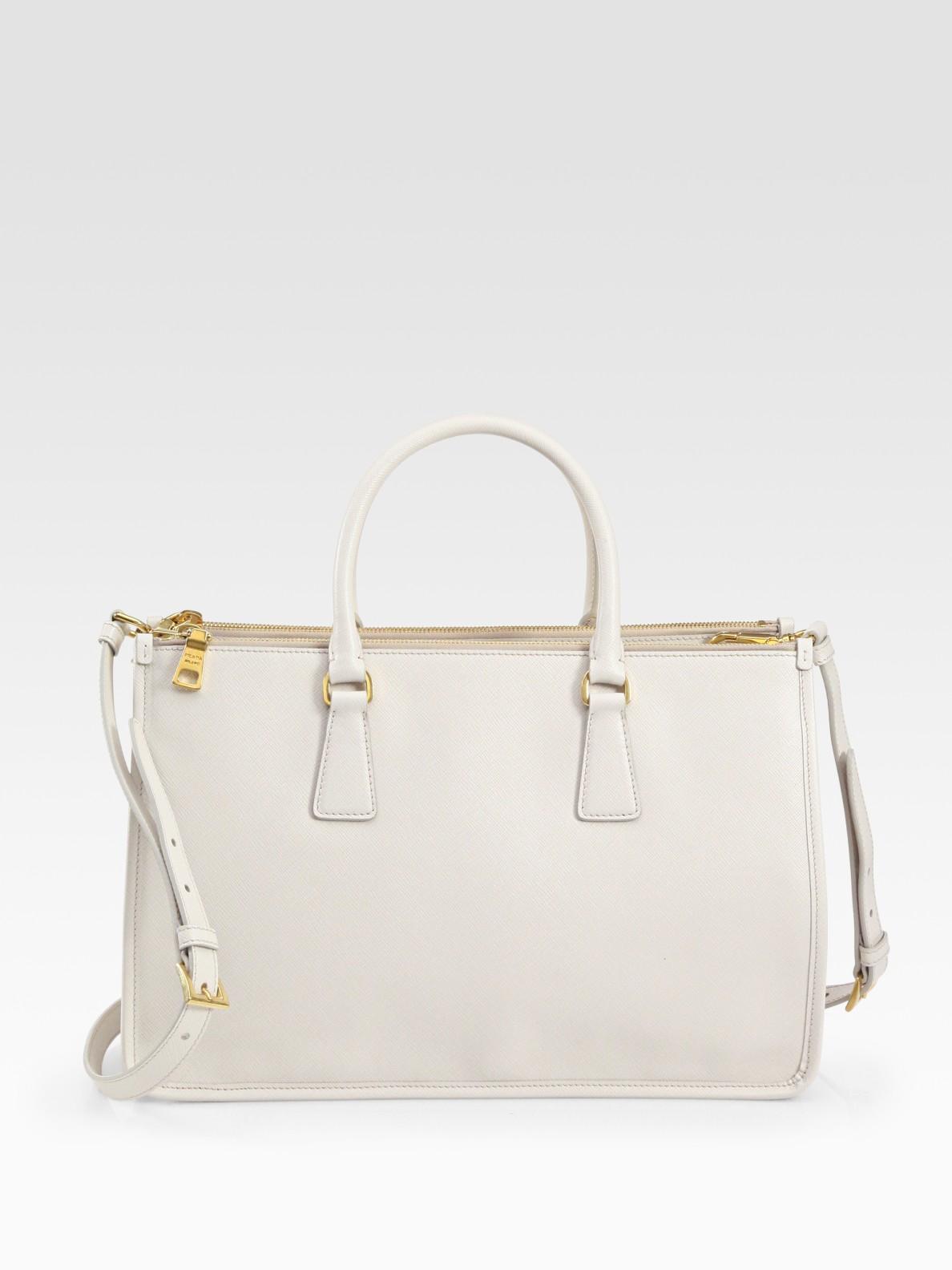 Prada Borsa Cerniera Framed Tote Bag in White | Lyst