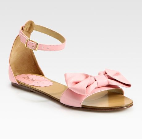 Red Valentino Leather Bow Flat Sandals In Beige Lyst
