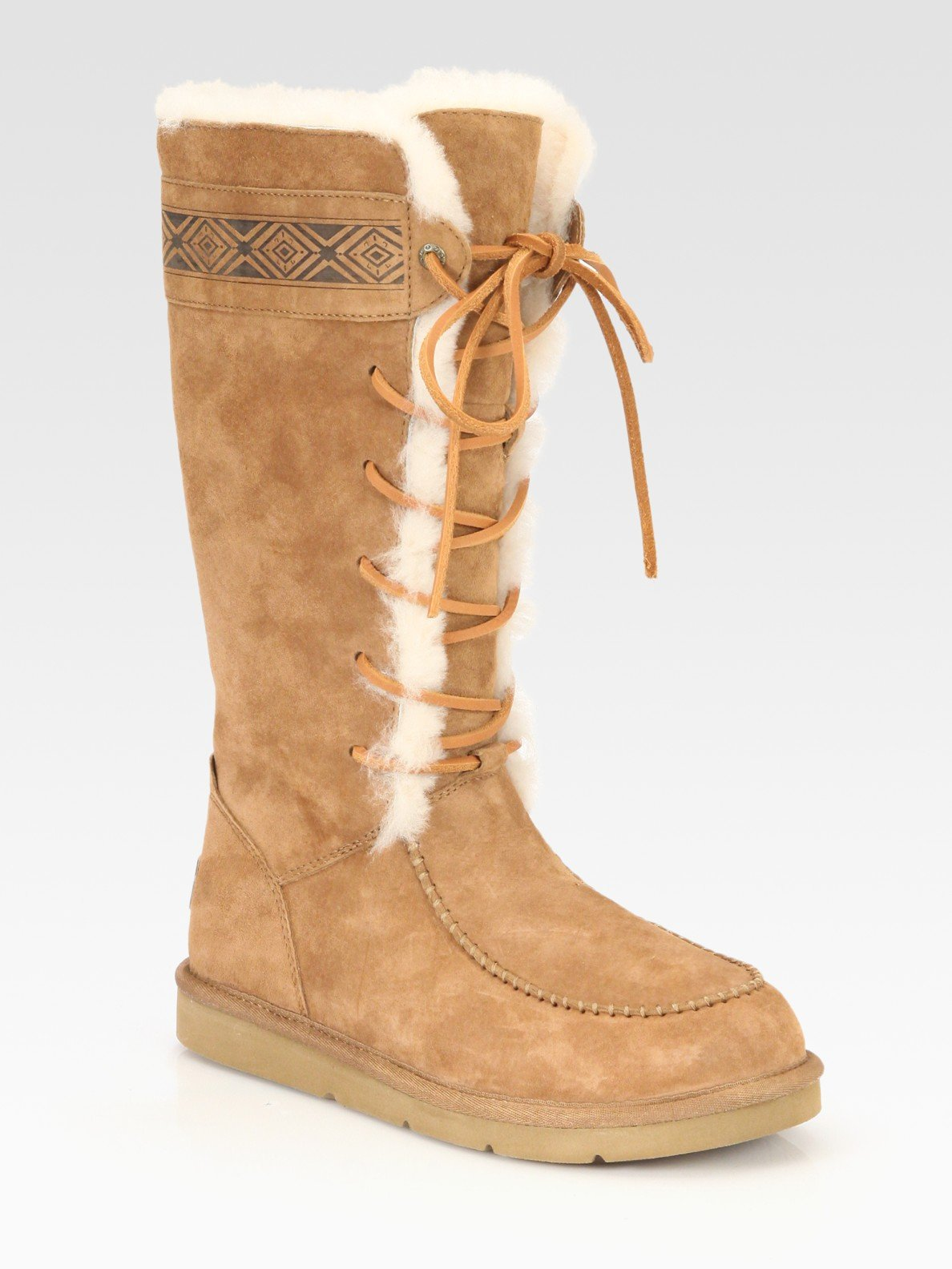 ugg tularosa lace up suede and shearling boots in