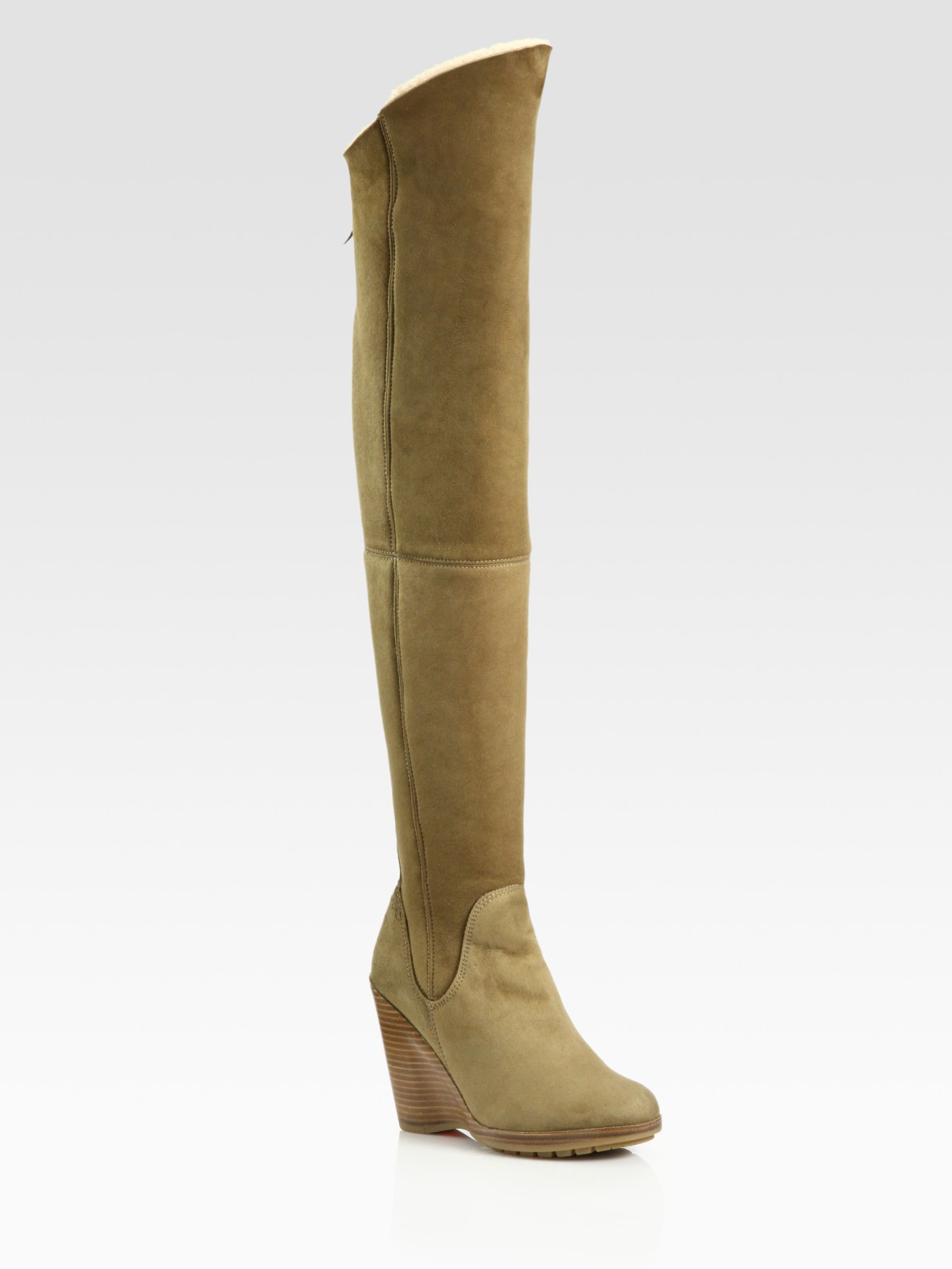 ugg florentina suede thigh high boots in khaki latte lyst