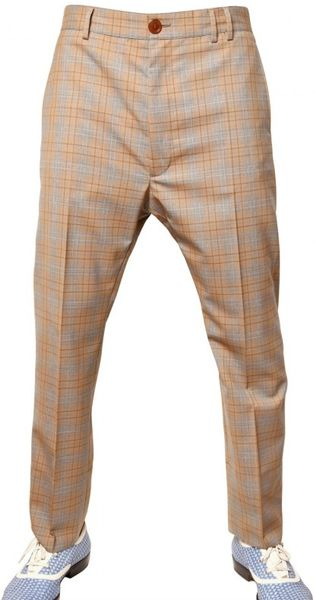Vivienne Westwood 19cm Checked Wool Trousers in Beige for Men - Lyst