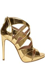 Alejandro Ingelmo 120mm Mirrored Gold Cage Sandals