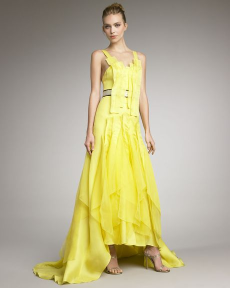 Carolina Herrera Satin Contrastwaist Gown in Yellow - Lyst