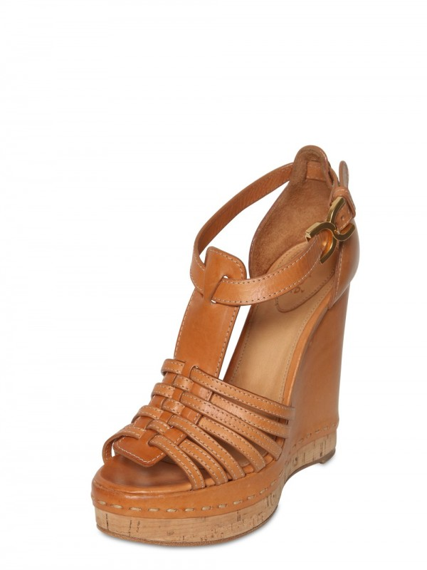 5ca5655a36e Lyst - Chloé 100mm Leather T-bar Sandal Wedges in Brown