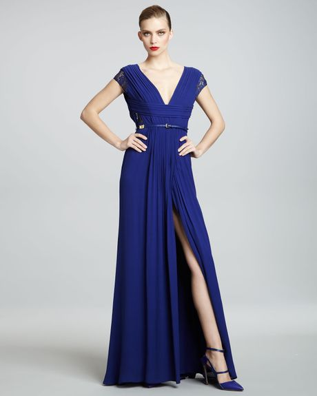 Elie Saab Lacesleeve Gown in Blue (royal blue) - Lyst